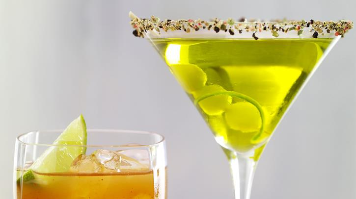 McCormick Gourmet Sake Green Tea Martini with Crushed Peppercorns