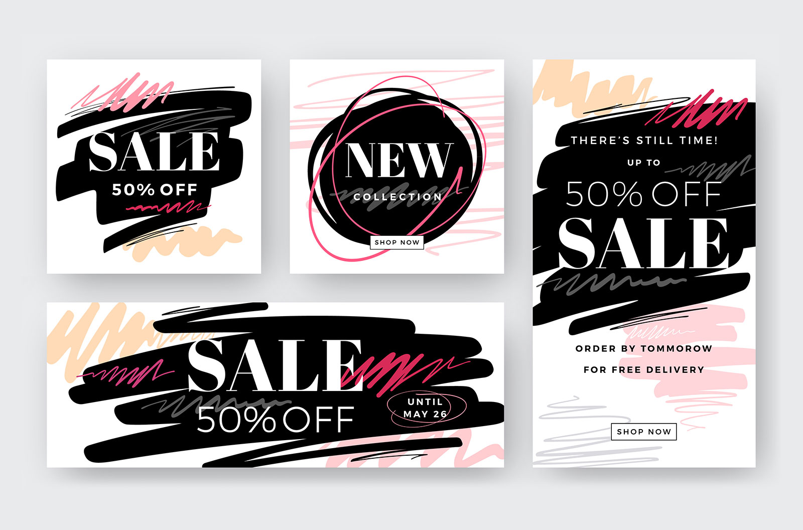 Set of modern abstract web banners for a retail shop with sales messaging
