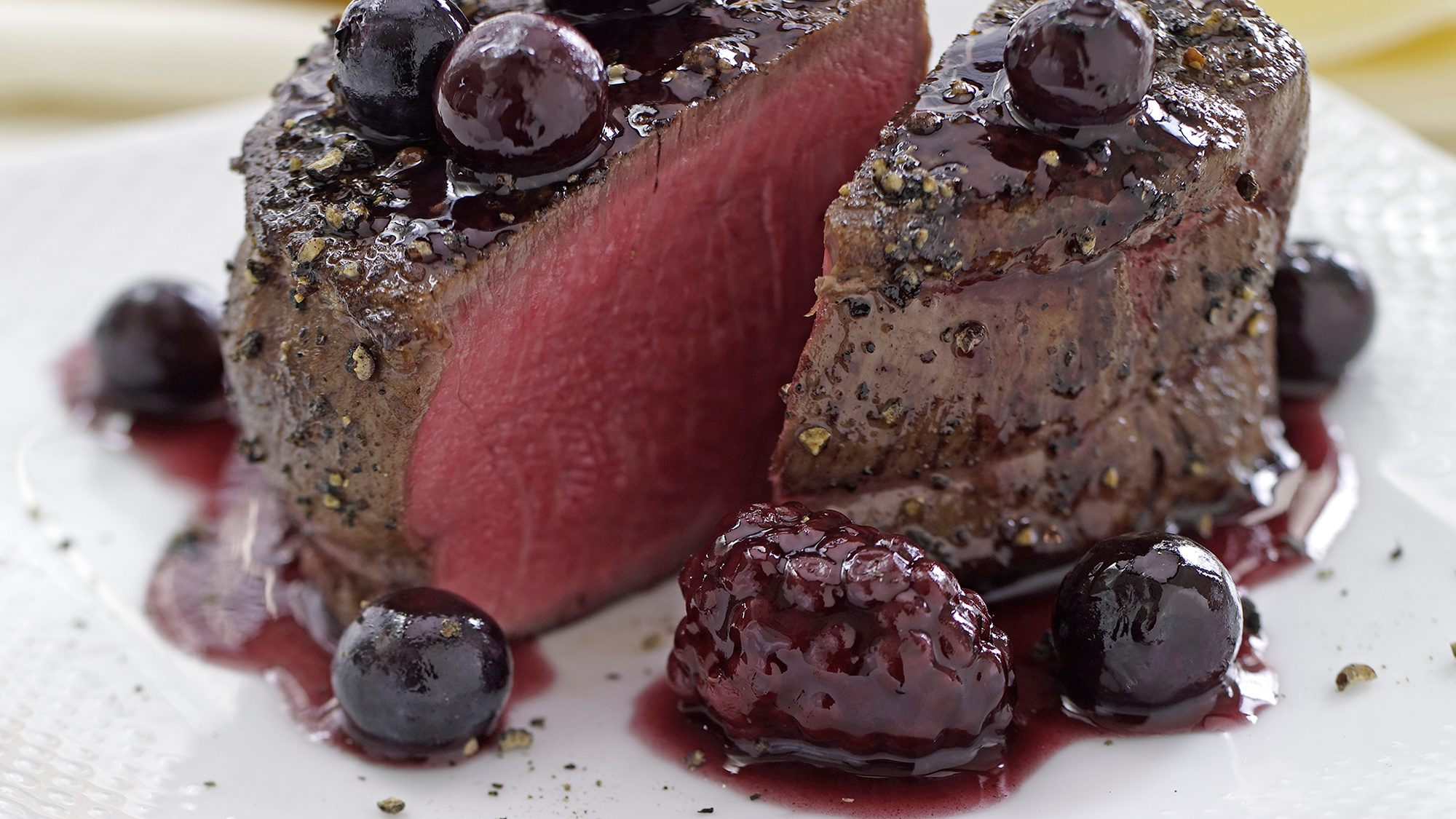 McCormick Peppered Filet Mignon with Blackberry Sauce