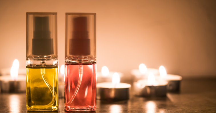 Aromatherapy oil in candle light.