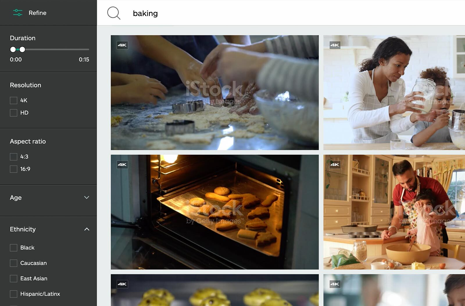 Screenshot of baking video search results