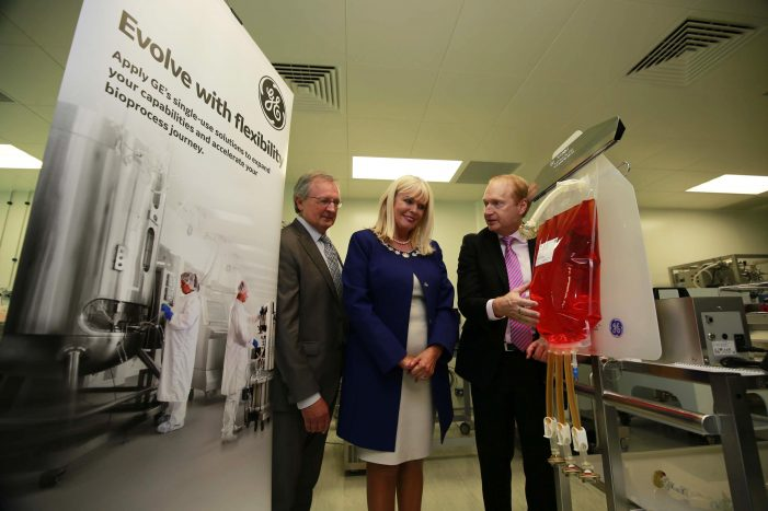 NIBRT and GE Healthcare to drive next-generation biomanufacturing competence with a new training center 1,500 biopharma professionals trained annually at NIBRT-GE Single-Use Centre of Excellence in Dublin BUSINESS - 8th June 2017 - Pictured were Dominic Carolan, NIBRT, Mary Mitchell O'Connor, TD and David Radspinner, GE. The National Institute for Bioprocessing Research and Training (NIBRT) and GE Healthcare have today opened a new training center, where up to 1,500 professionals are expected to receive training annually. The NIBRT-GE Single-Use Centre of Excellence features the latest technologies that will further boost biomanufacturing skills and expertise in Ireland, Europe and globally. Photograph Nick Bradshaw