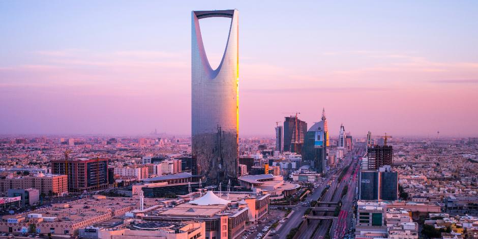 Overlooking the capital of Saudi Arabia, Riyadh, at sunset
