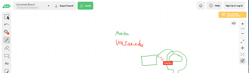 A Web Whiteboardの画面