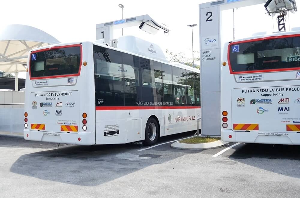 Pantograph-style chargers installed at bus terminals