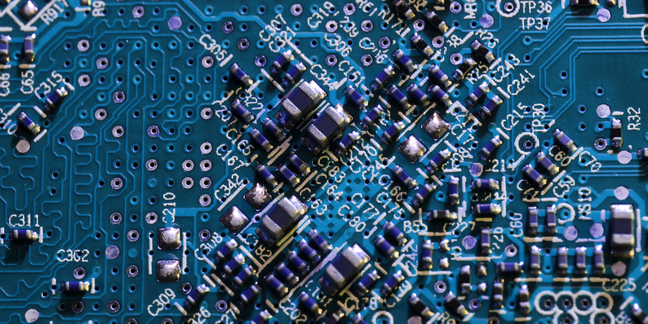 electronic components on a computer graphics card. close-up