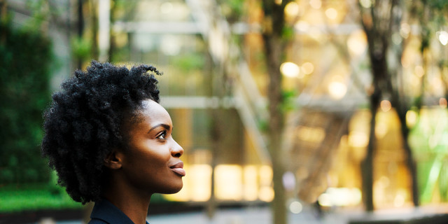 Profile shot of woman looking ahead