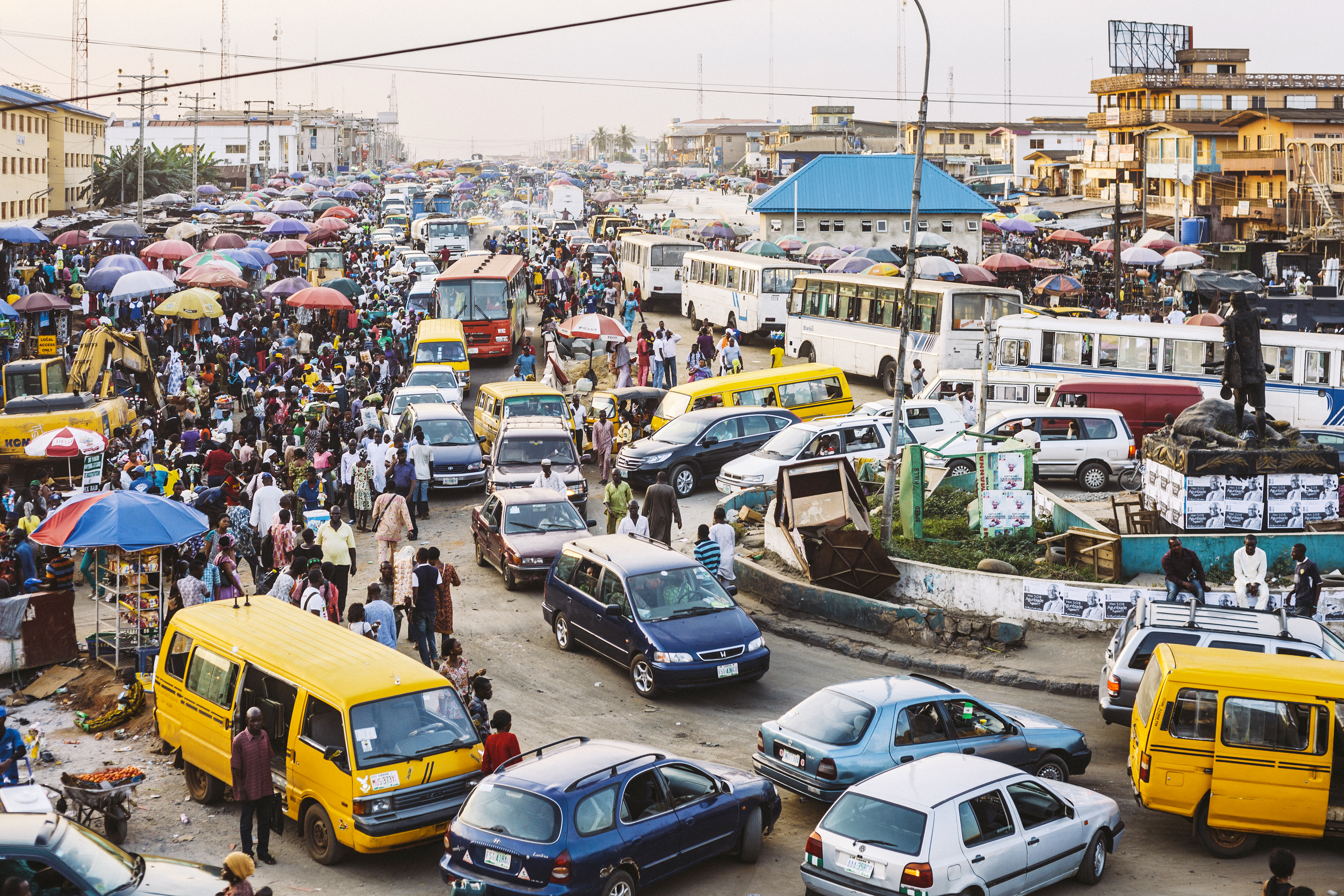 Busy streets of African town. Lagos, Nigeria.