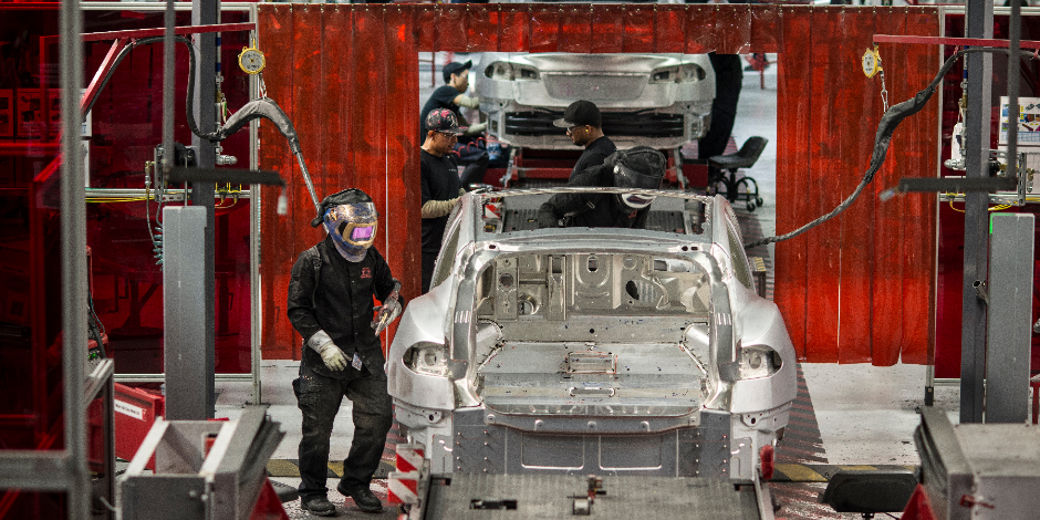 FREMONT, CA JANUARY 23, 2015. Scenes at the Tesla car factory include welders assembling various components. Photo by David Butow (Photo by David Butow/Corbis via Getty Images)