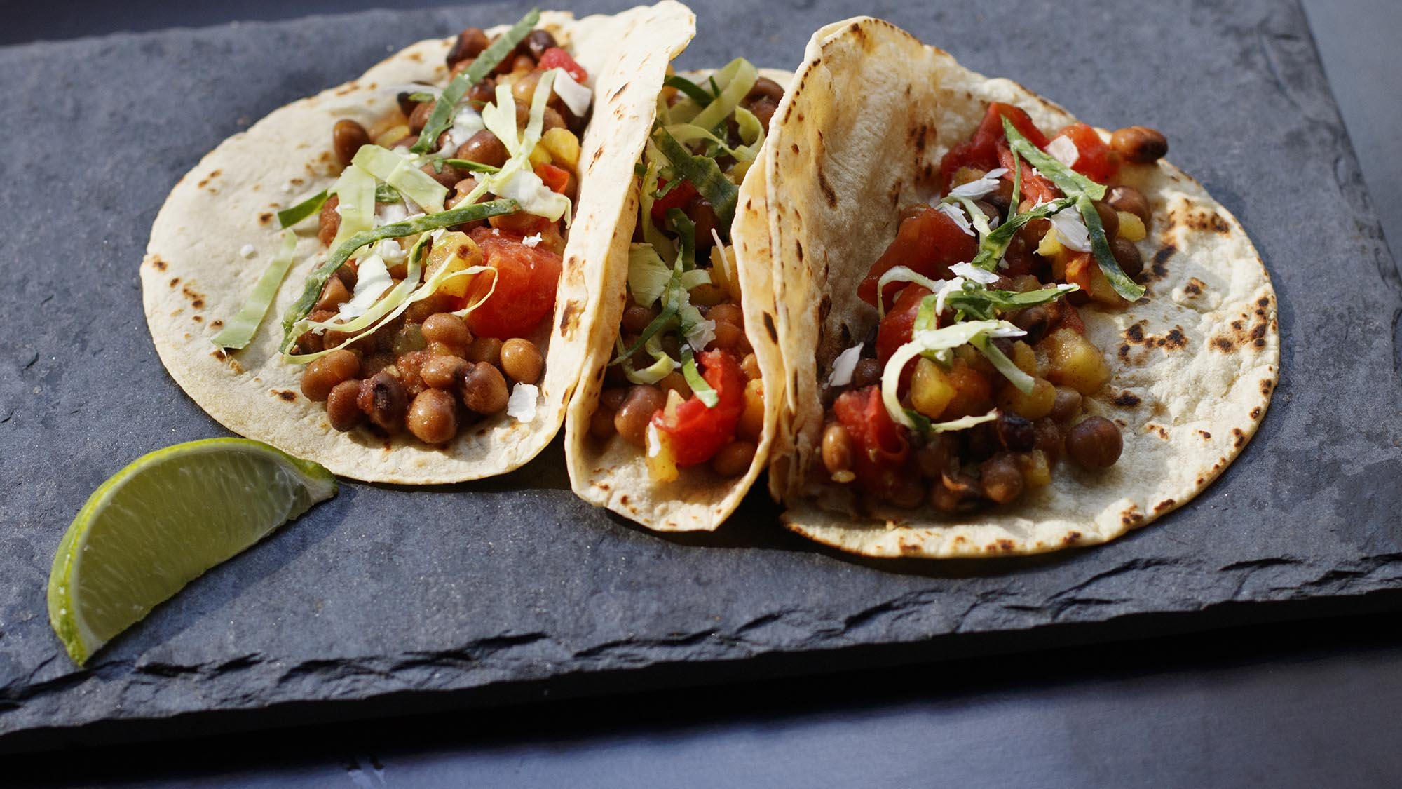 McCormick Gourmet Pigeon Pea Tacos Al Pastor with Coconut Lime Slaw