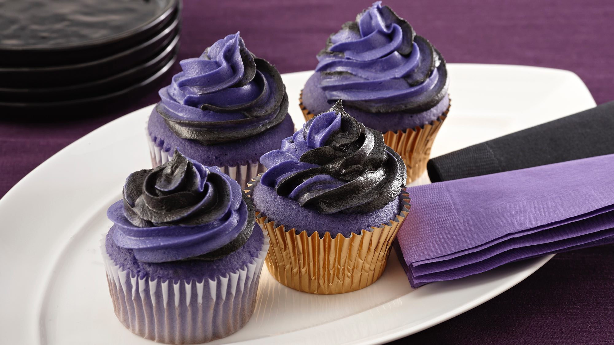 McCormick Baltimore Purple Twist Cupcakes