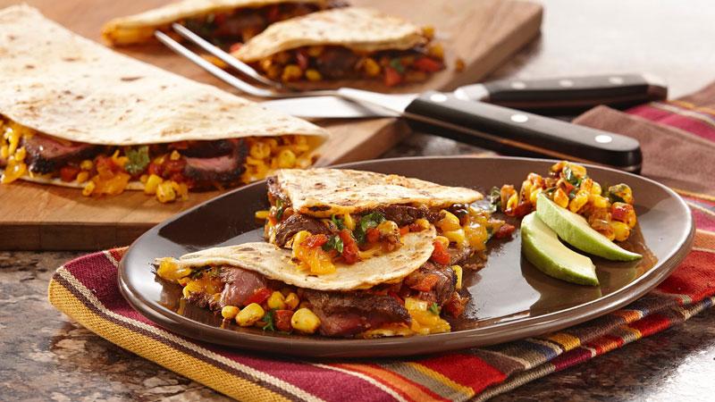 McCormick Cantina Steak Quesadillas with Skillet Charred Corn Salsa