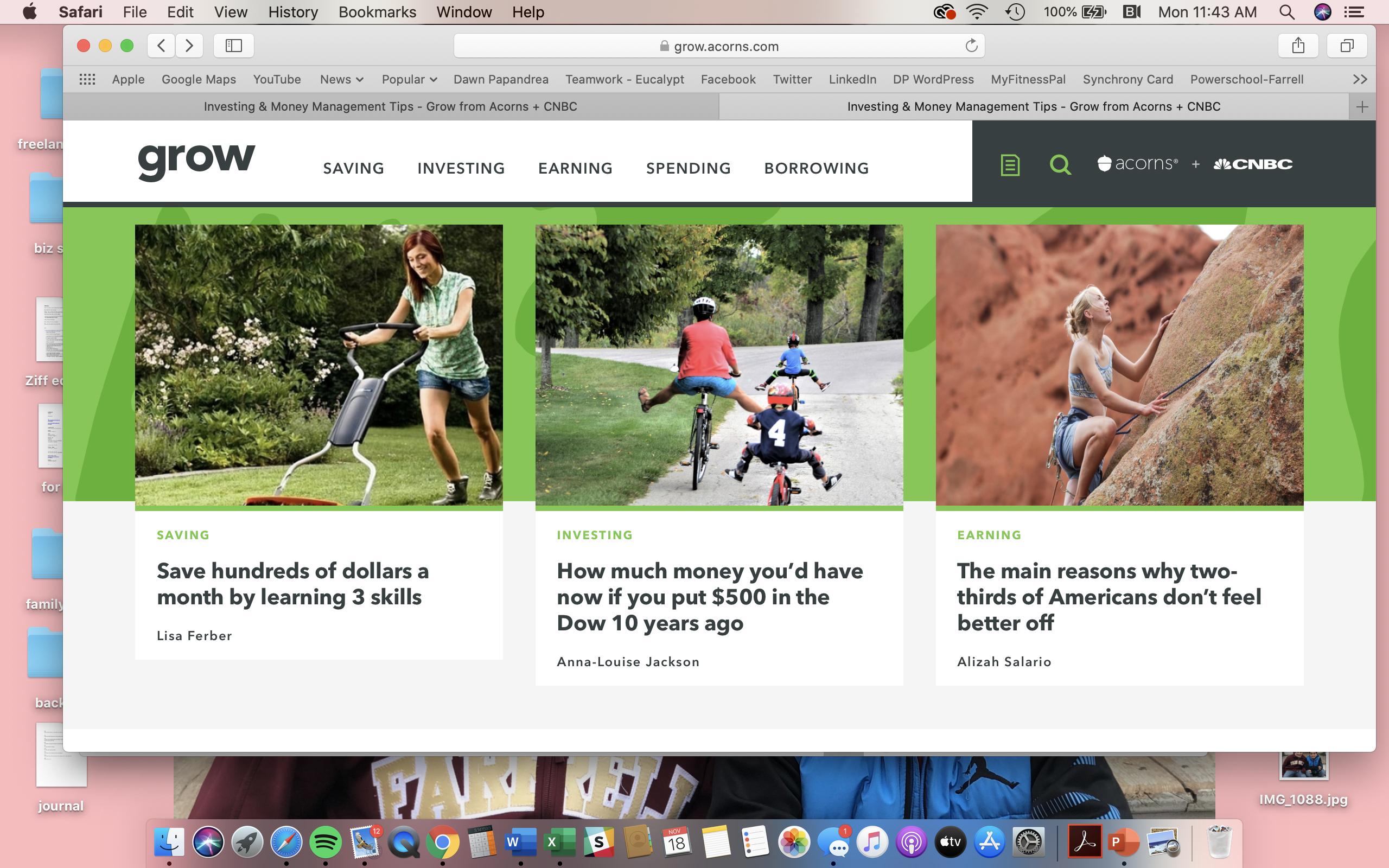 Screenshot of Acorns' financial services content marketing hub,