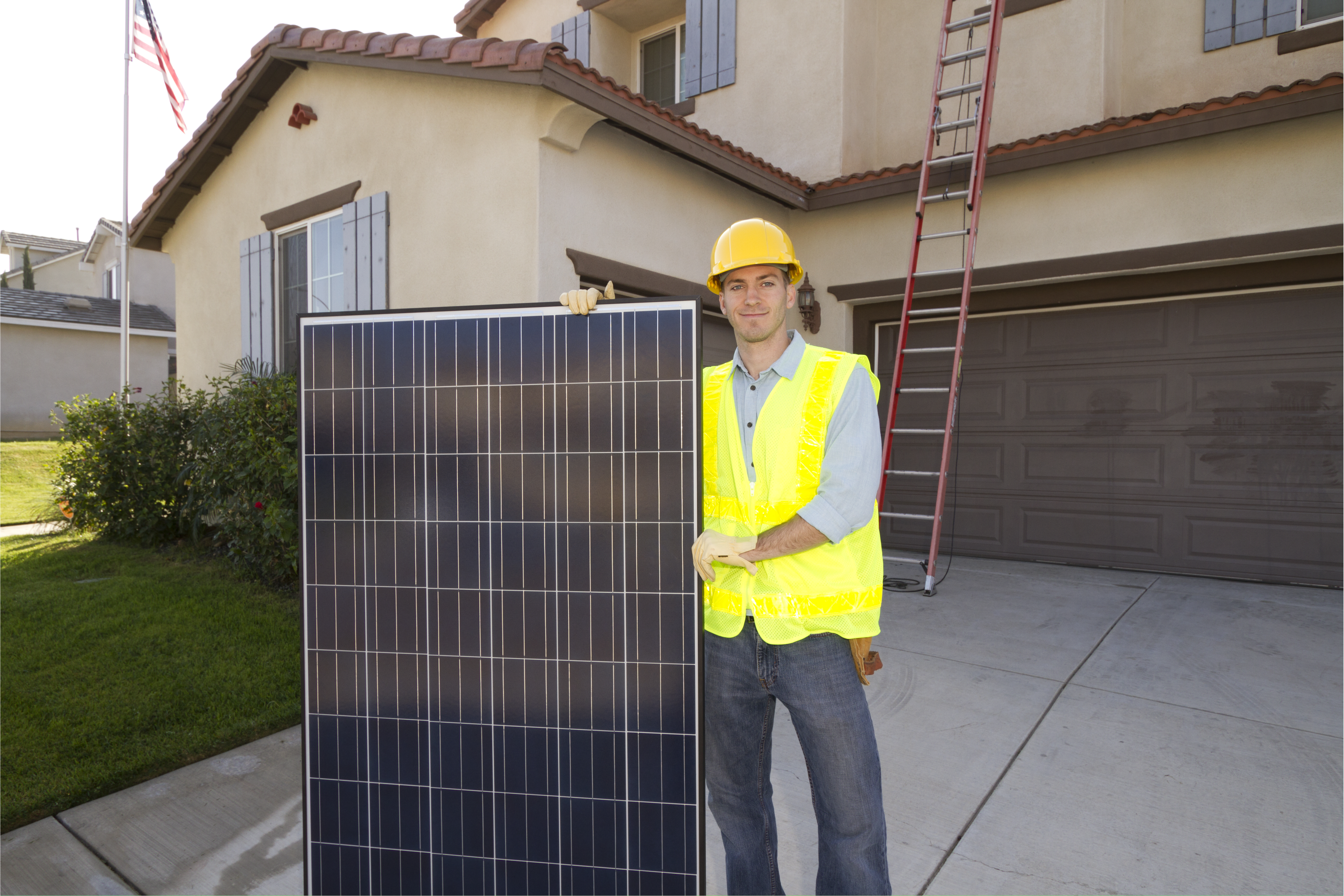 Solar Panel Man Wide Horizontal