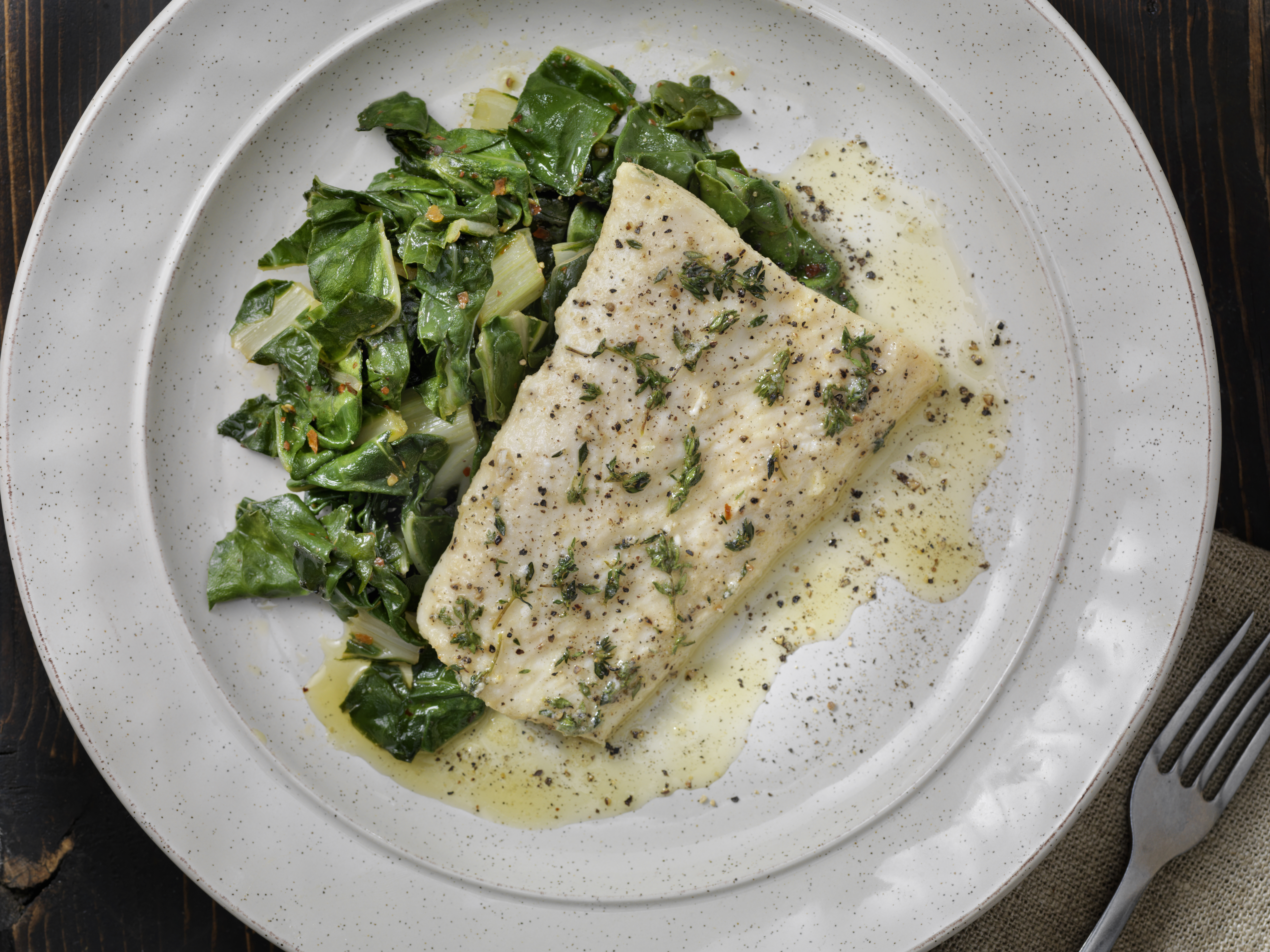Butter Poached Halibut with Swiss Chard