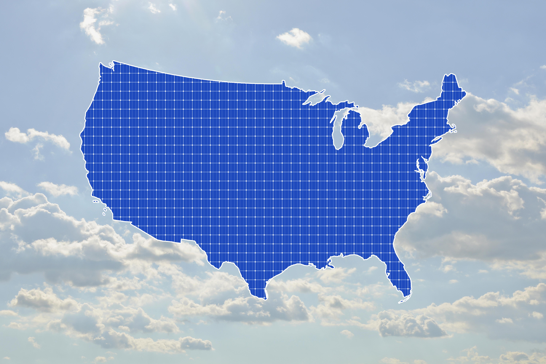 USA map on sunny sky