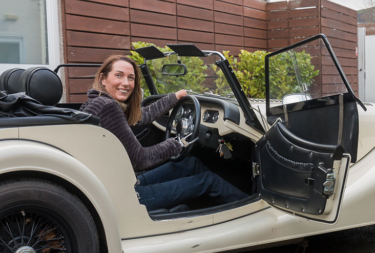 Helen Dolphin enjoying her visit to the Morgan Motor Company factor