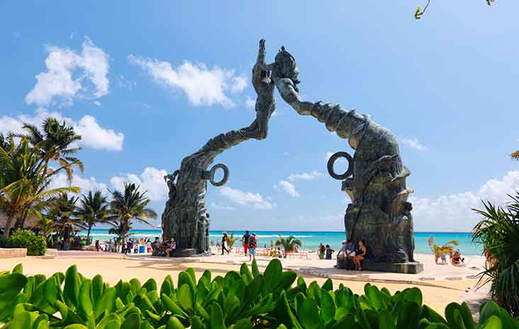 The Portal Maya sculpture in Parque Fundadores, Playa del Carmen, Mexico