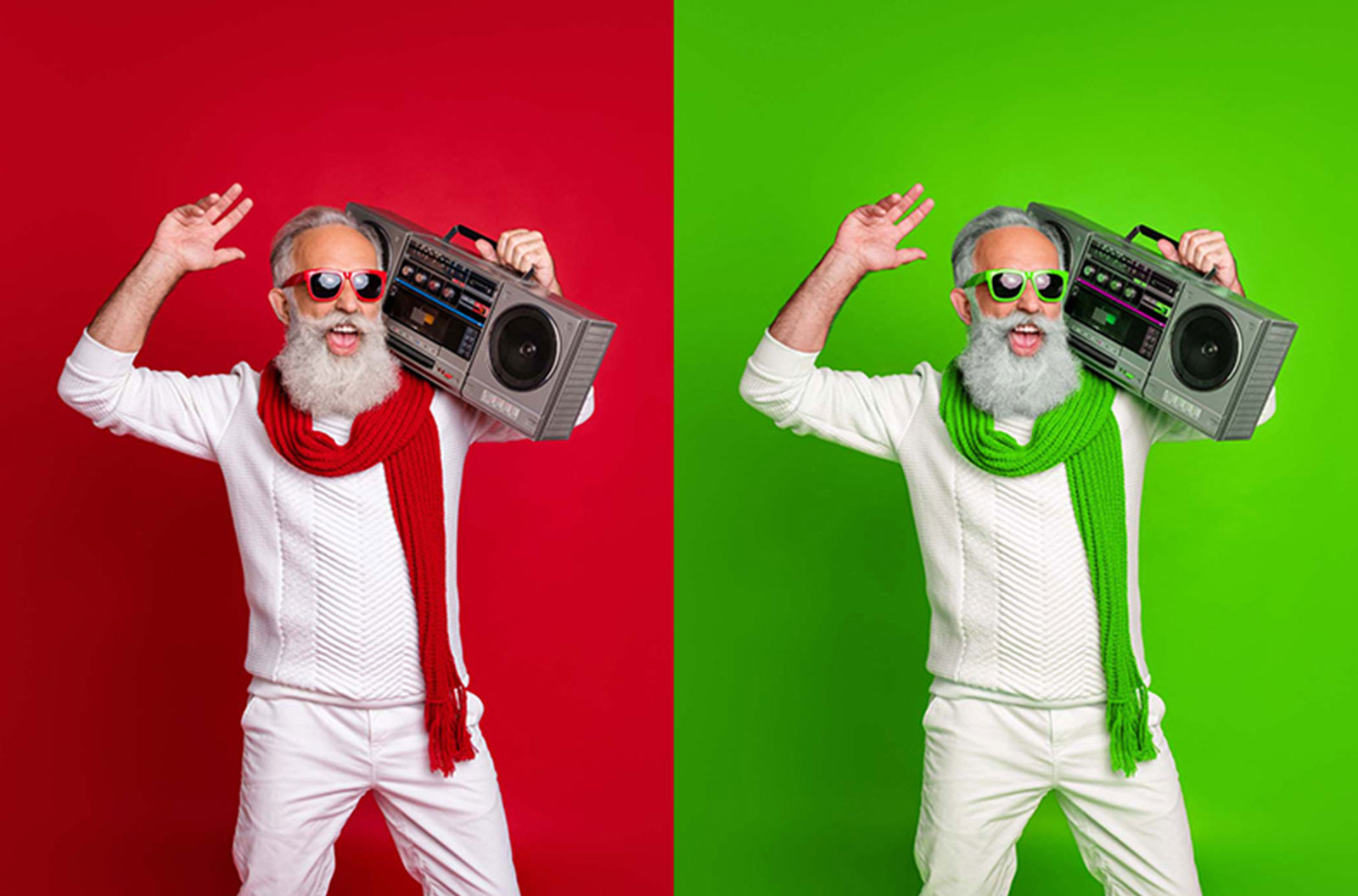 Side by side image comparisons of a bearded man with sunglasses holding a boombox to illustrate image color adjustments