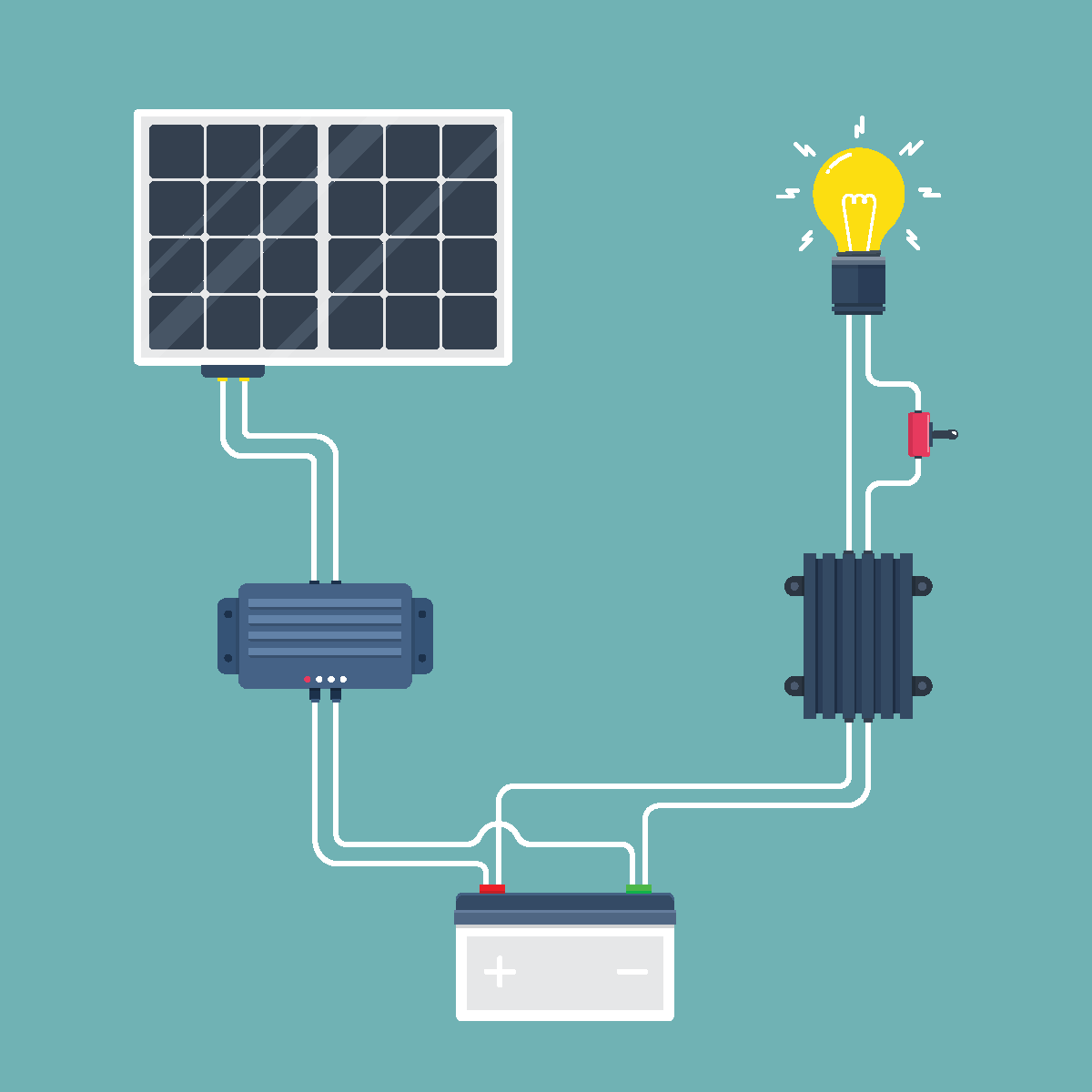 Solar Cell Circuit. Natural Energy. Vector illustration.