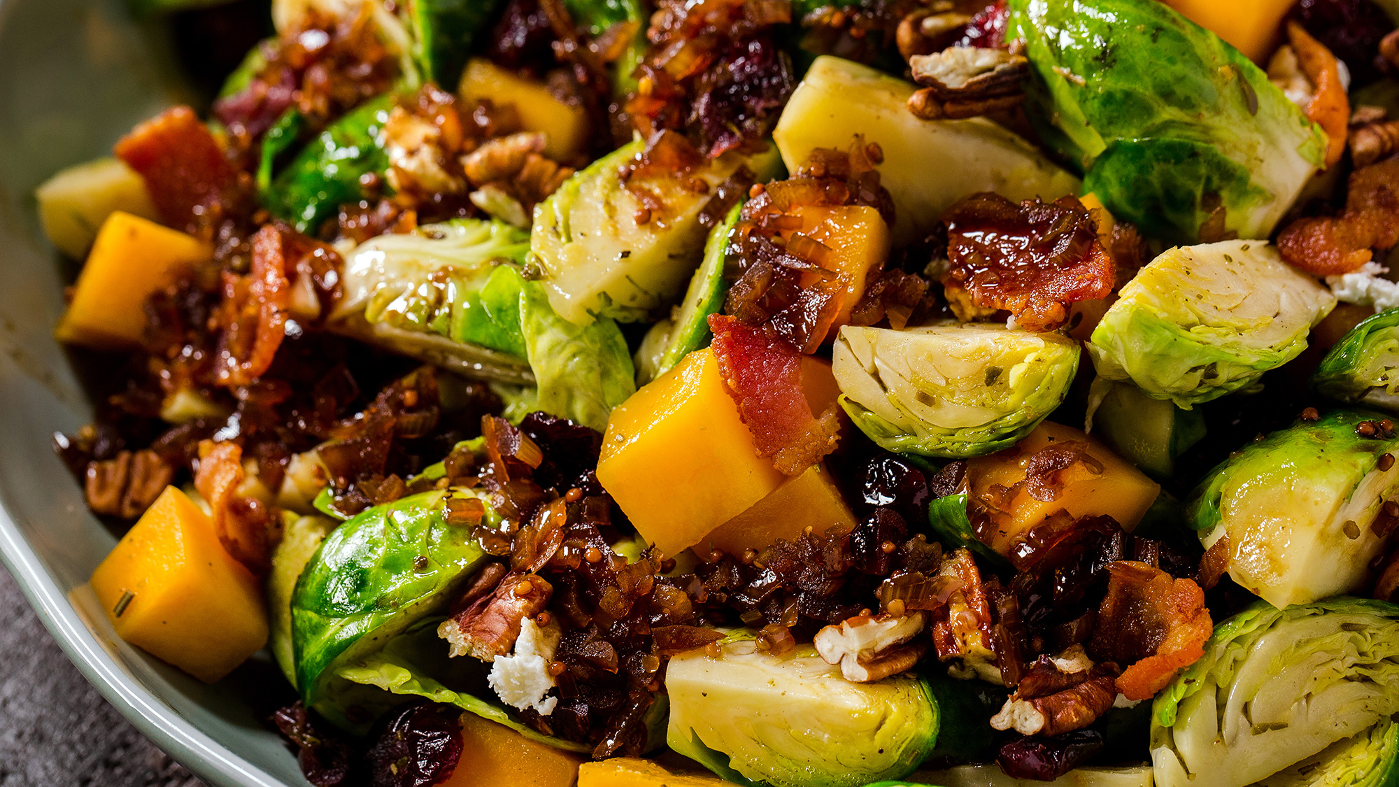 Kitchen Basics Autumn Brussels Sprout Salad with Warm Bacon Drizzle