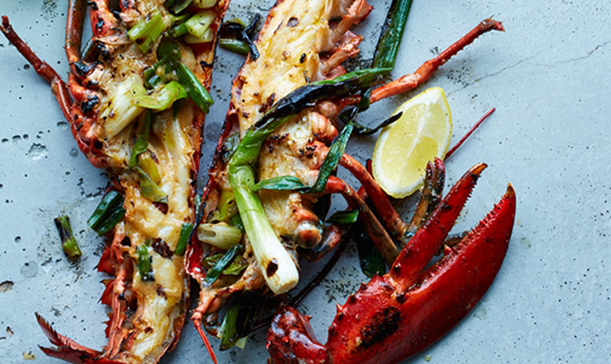 Buttery Grilled Lobster Tail with Lemon and Aspargus
