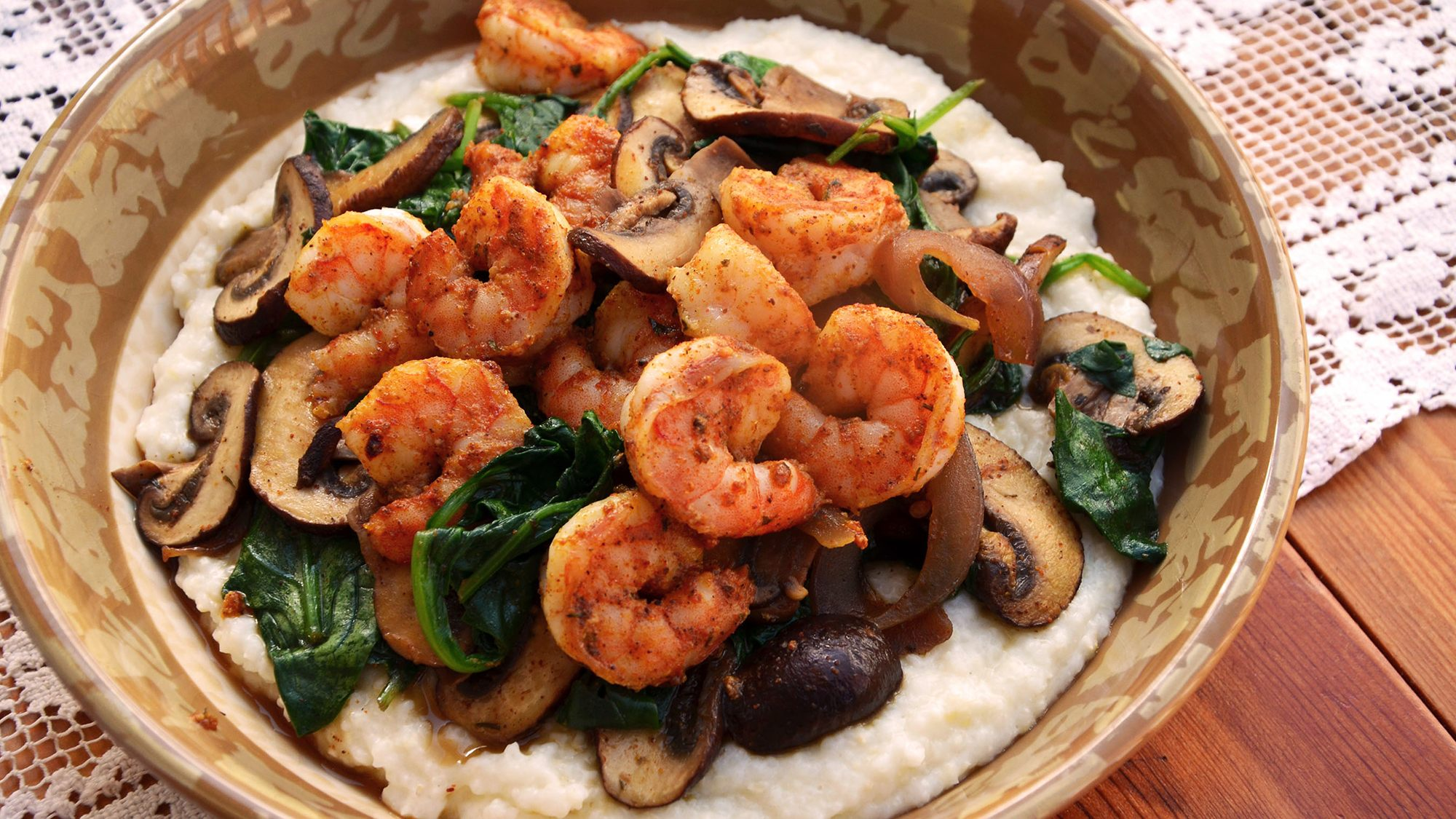 McCormick Gourmet Curried Shrimp with Wild Mushrooms and Grits