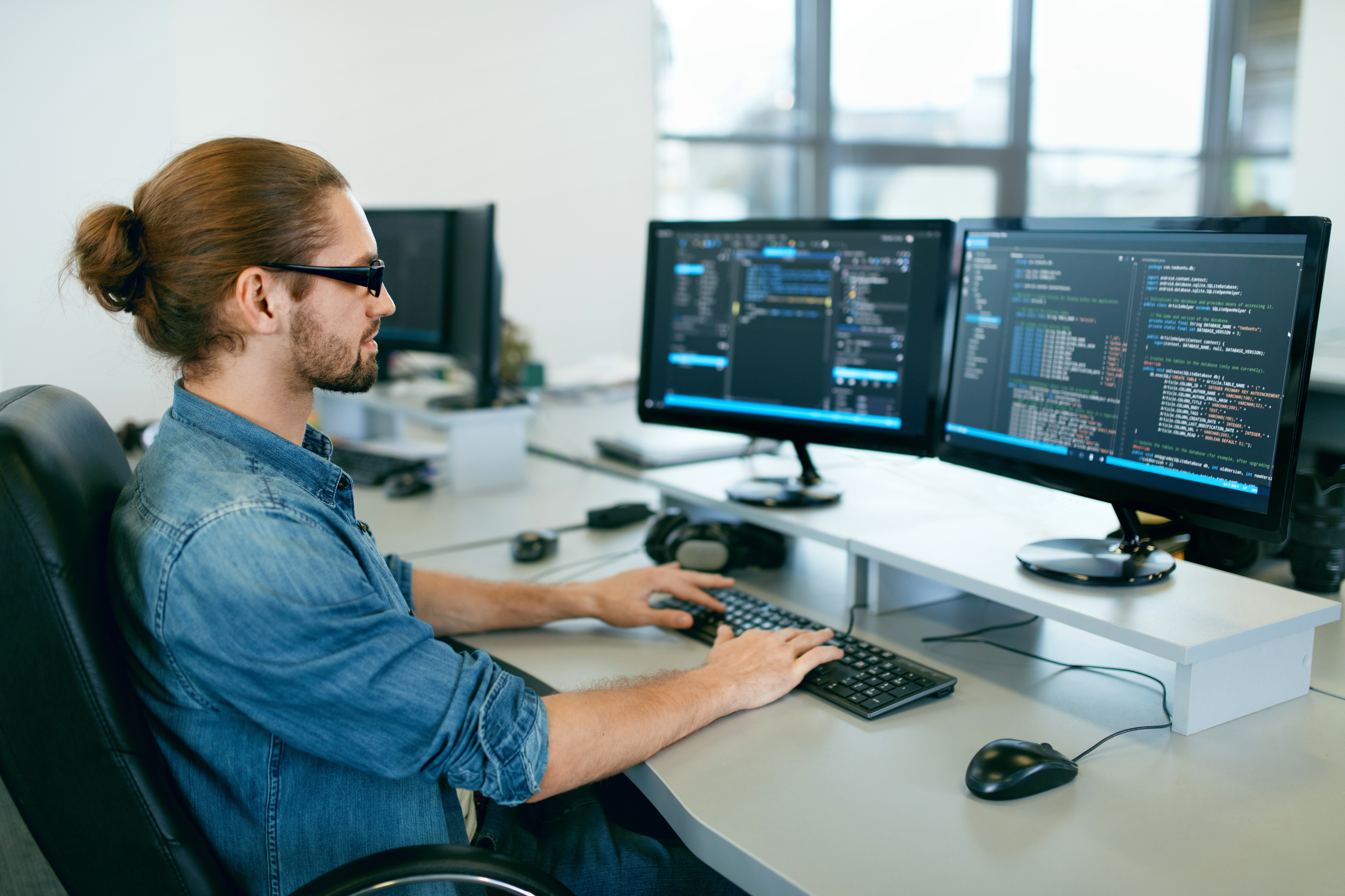 IT guy working on monitoring systems