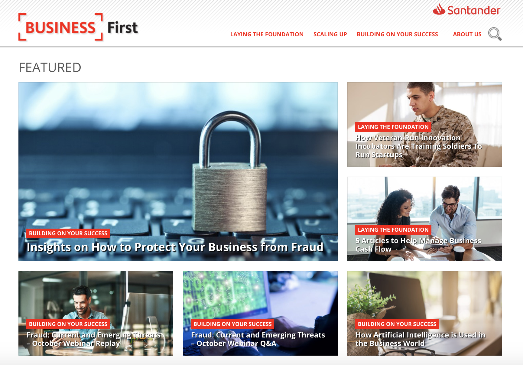 Screenshot of Business First content marketing hub by Santander Bank