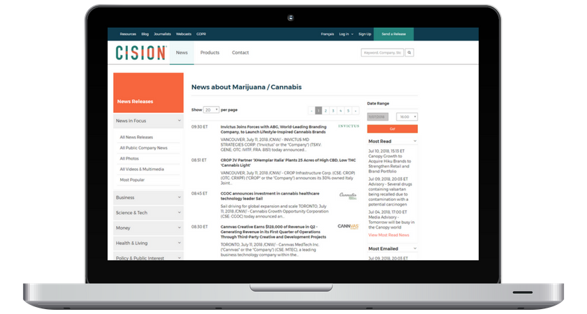 Cision.ca Cannabis Page