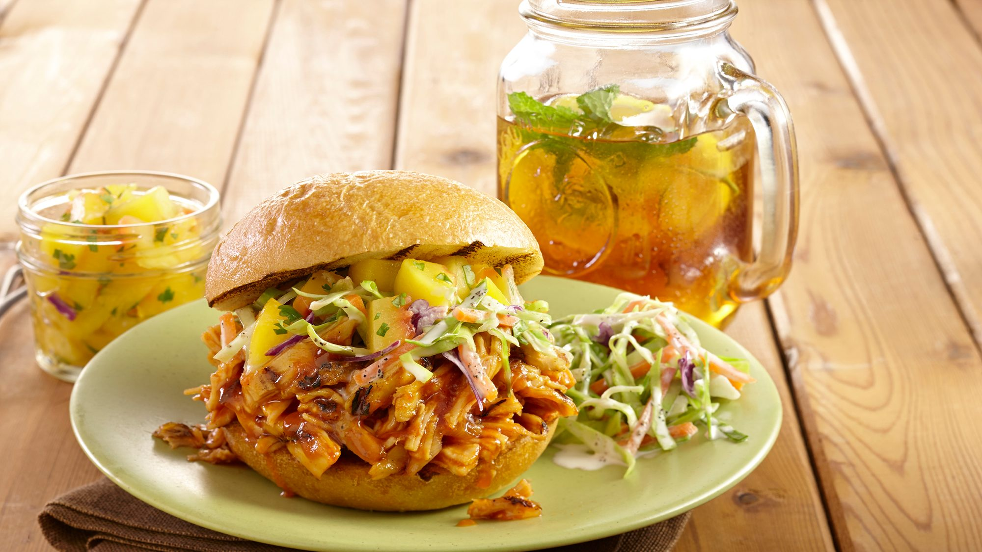 McCormick Pulled Chicken Sandwich with Peach Salsa