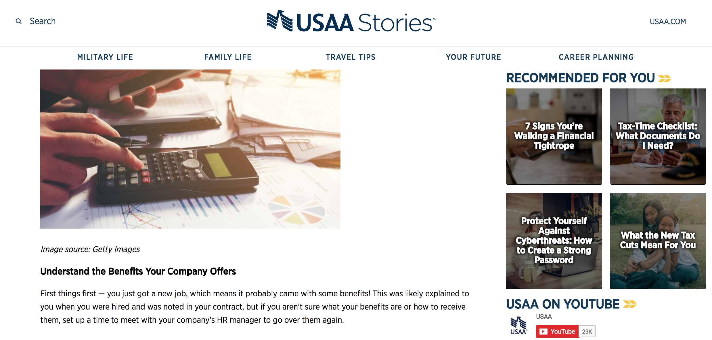 USAA_personalized content hub.png