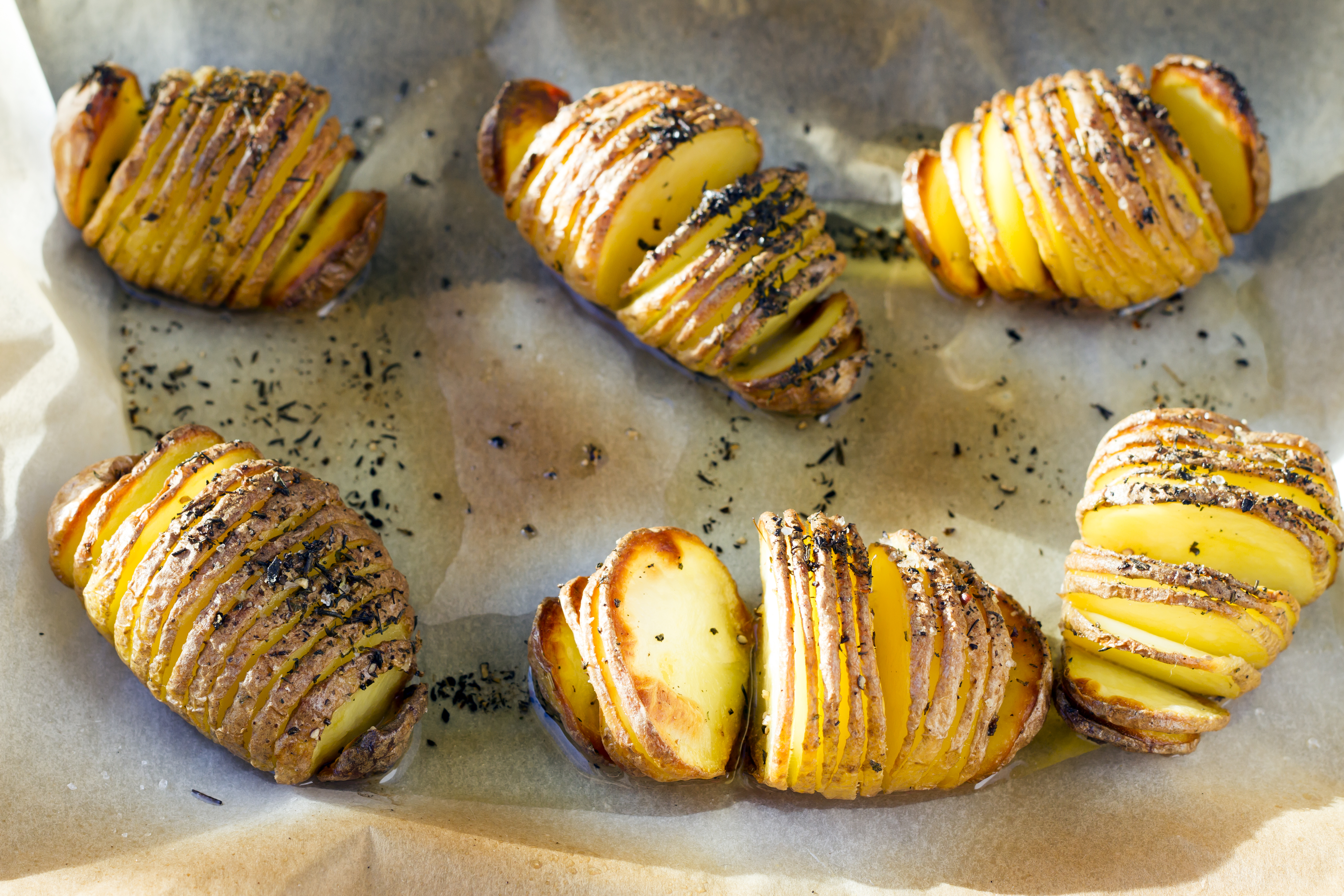 Hasselback potatoes, swedish cuisine.