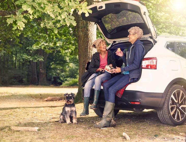 Ladies using Motability Scheme car for a picnic