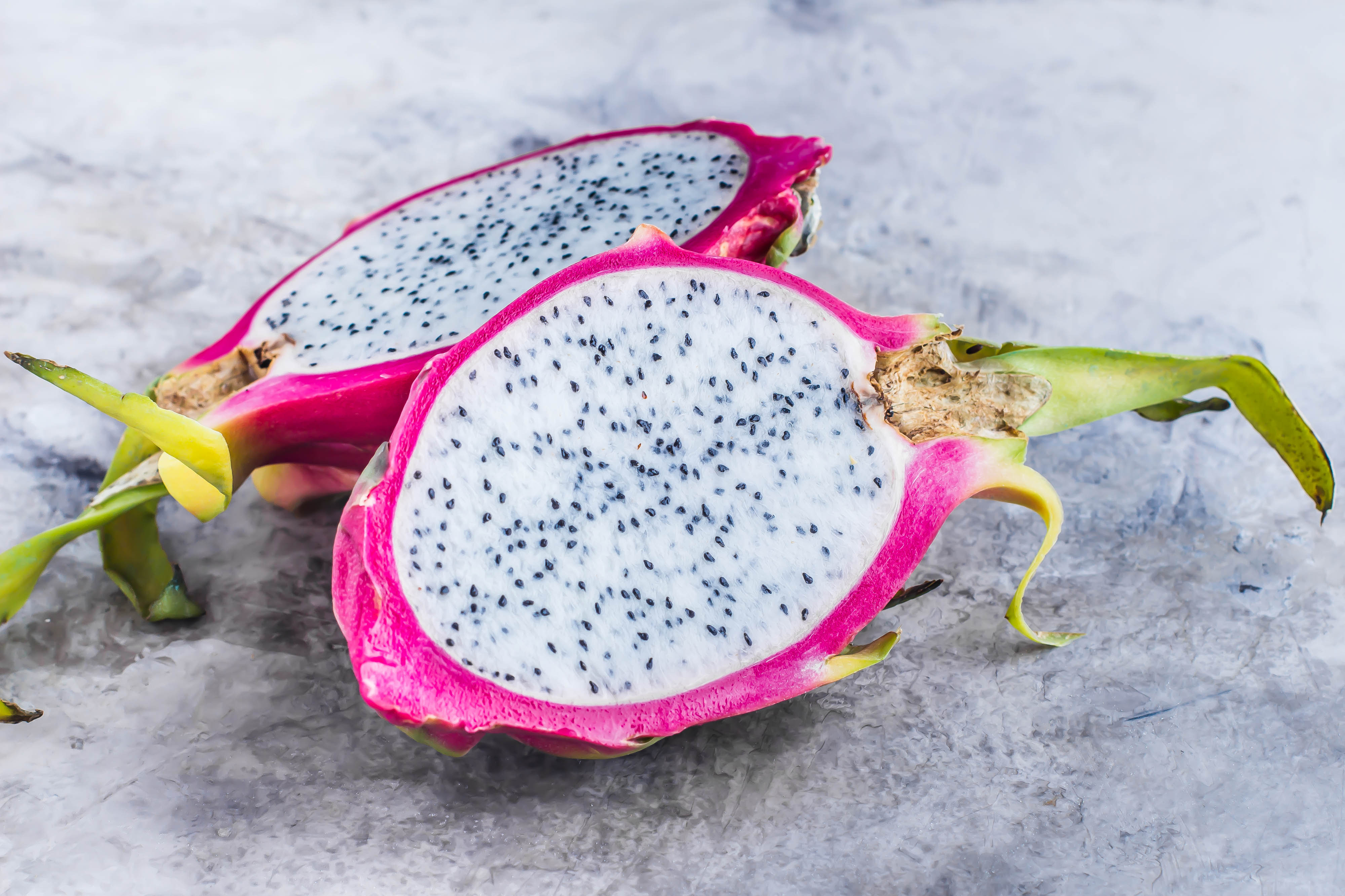 Dragon Fruit on marble gray table background. Asian fruit food