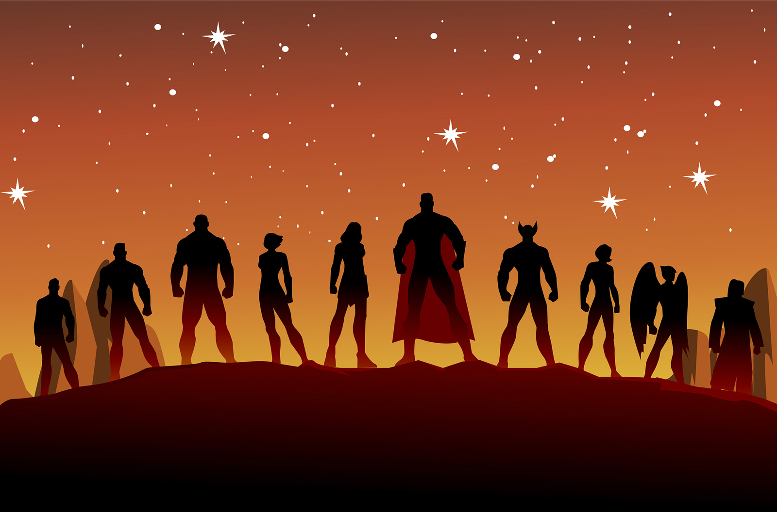 Vector Superheroes Silhouette Stock Illustration - stock vector
