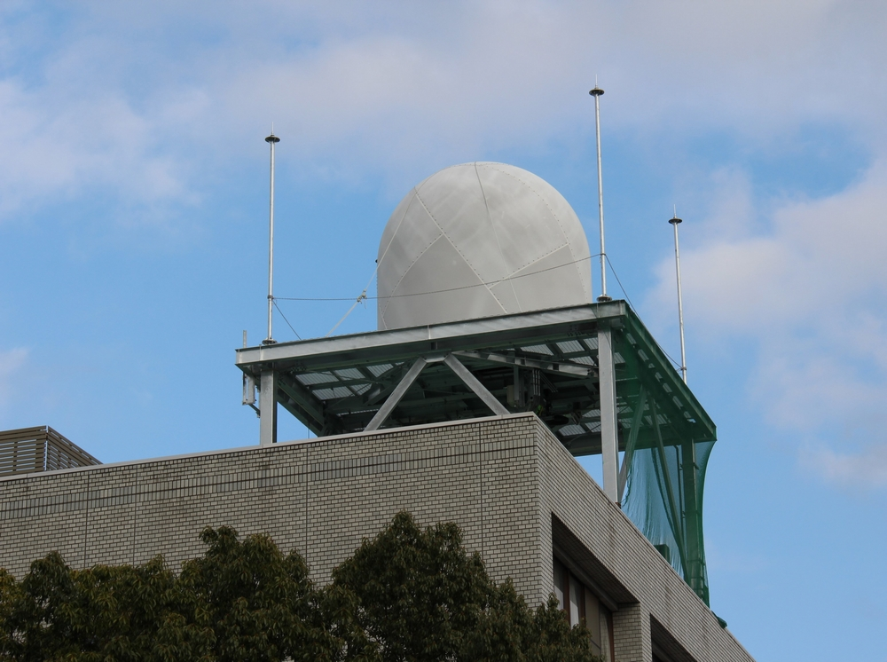 Multi-Parameter Phased Array Weather Radar, installed on the roof of a building on the Saitama University campus