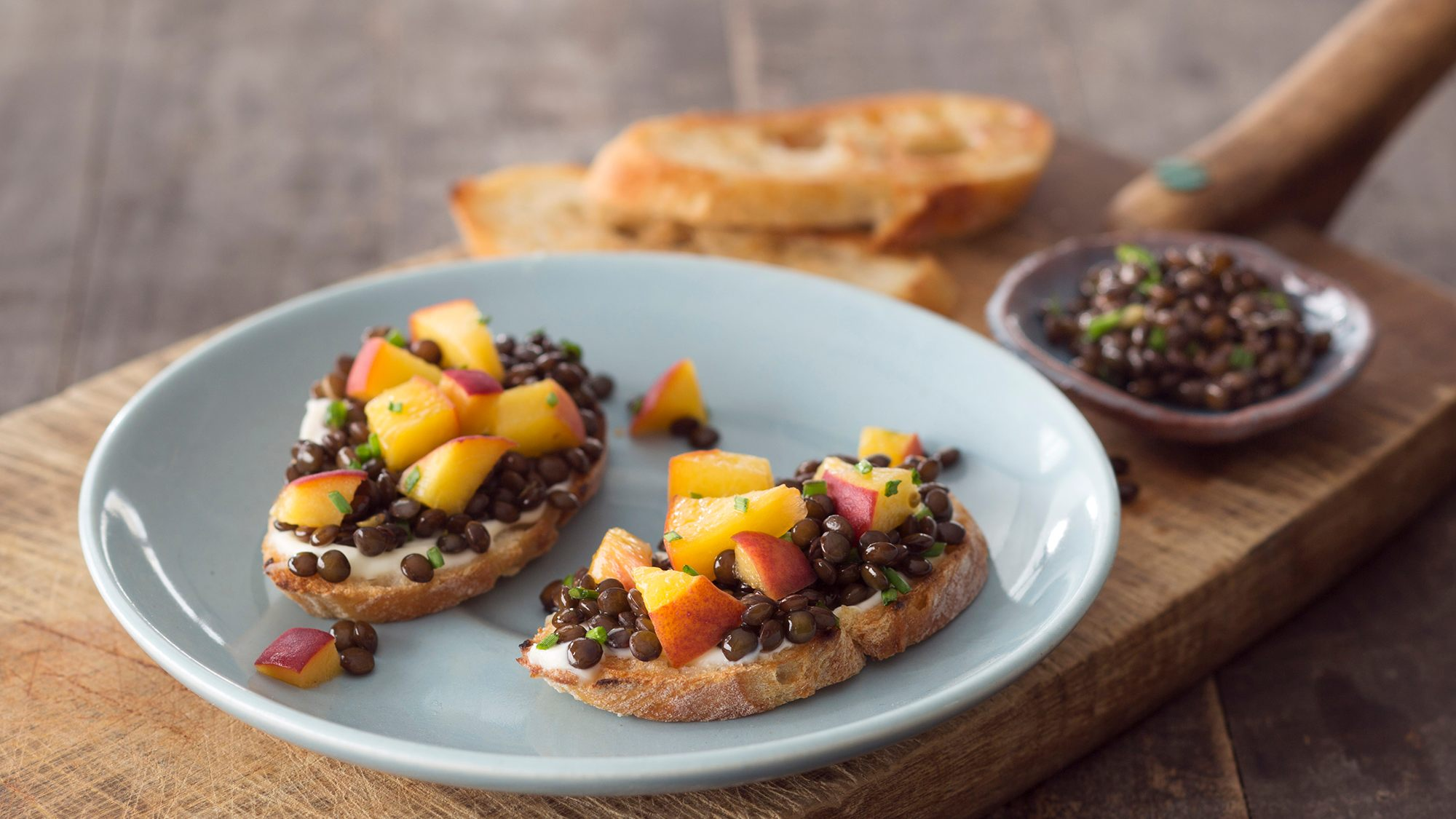 McCormick Gourmet Pickled Peach and Black Beluga Lentil Toasts