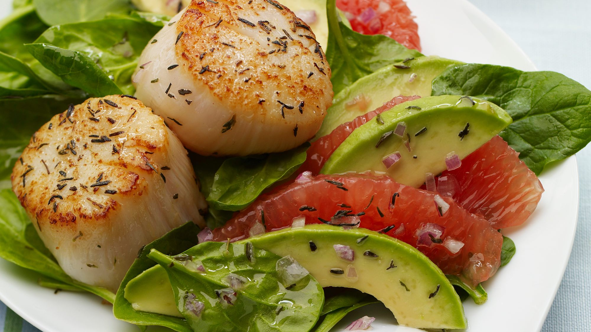 McCormick Seared Scallops with Red Grapefruit Avocado Salad