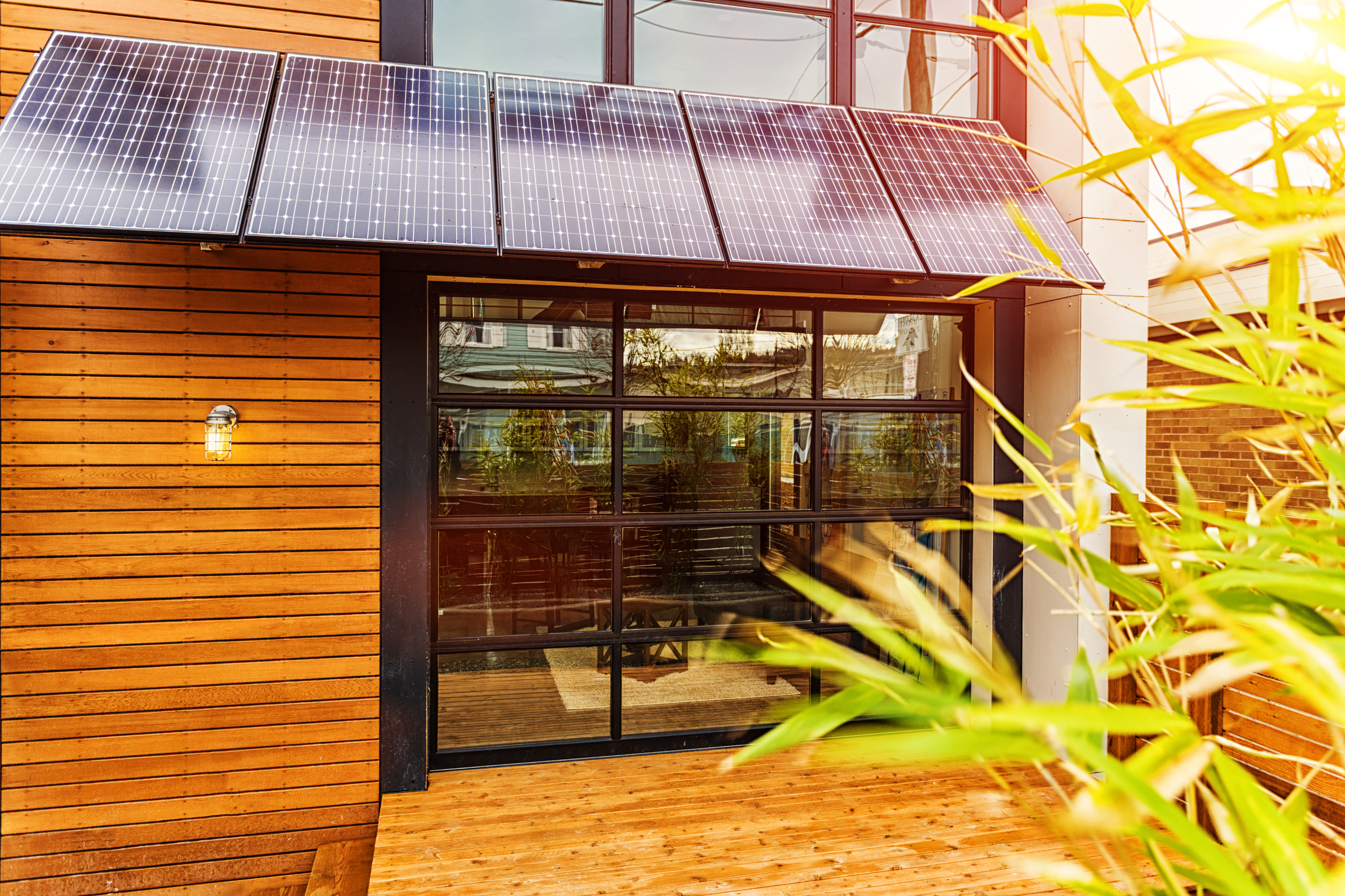 Modern Home with Solar Panel Awning