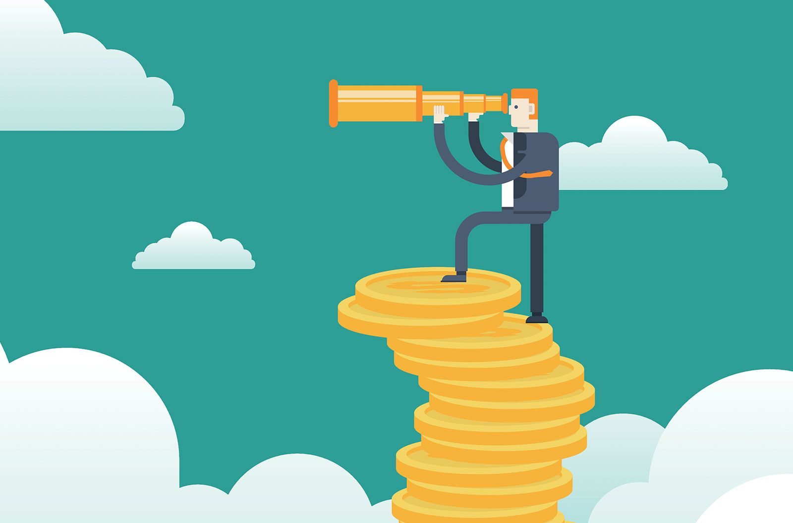 Businessman with spyglass on Stacks of gold coins stock illustration