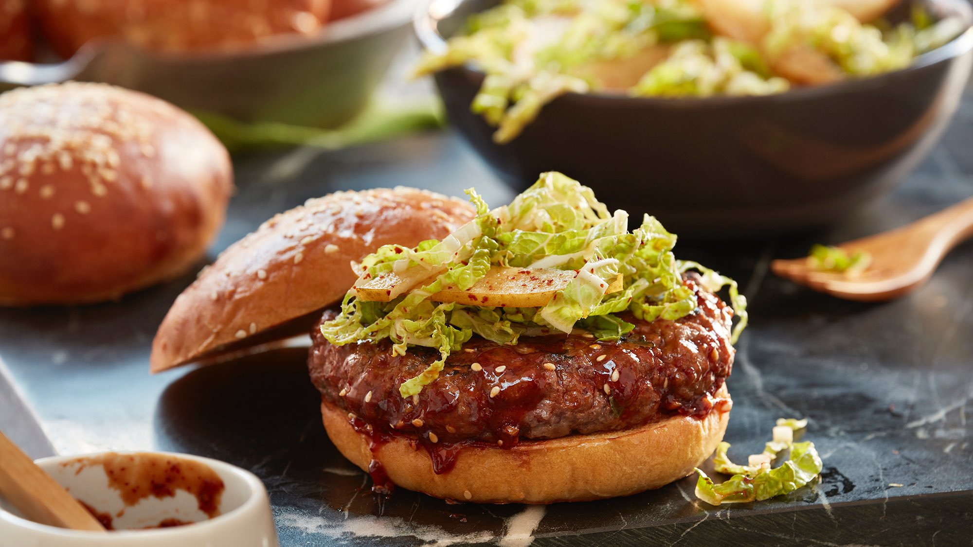 McCormick Gourmet Korean Burgers with Gochugaru BBQ Sauce and Kimchi Slaw