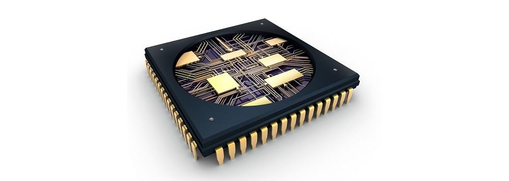一つのチップに多くの回路が搭載されている。