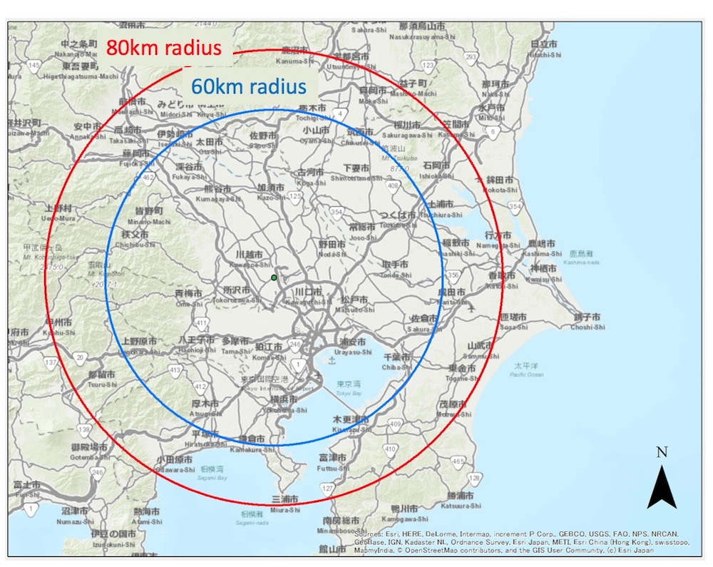 Observation range of the radar, which is located near Tokyo
