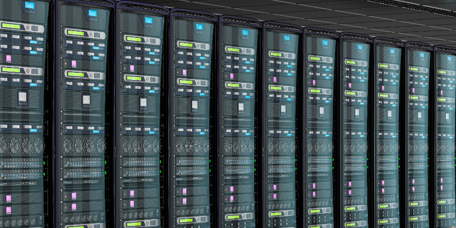 Server room in data center, 3D rendering