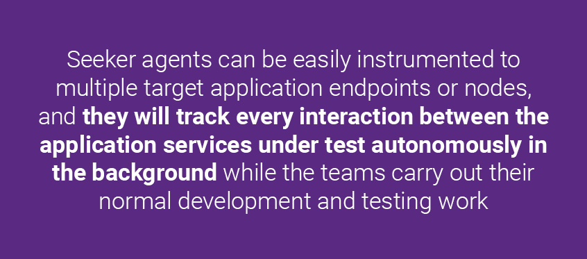 Seeker agents can be easily instrumented to multiple target application endpoints or nodes, and they will track every interaction between the application services under test autonomously in the background while the teams carry out their normal development and testing work. | Synopsys