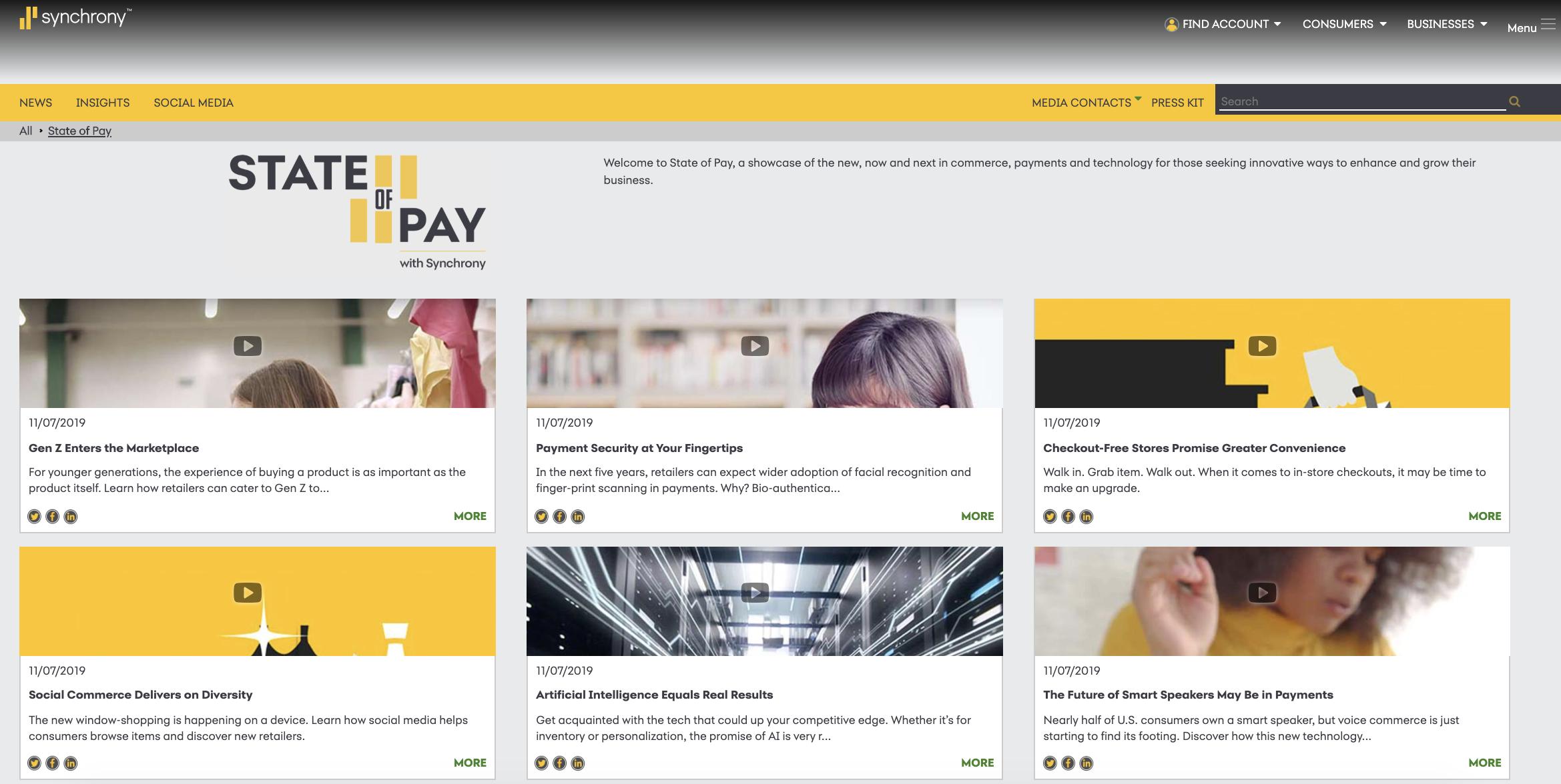 Screenshot of financial services content marketing hub