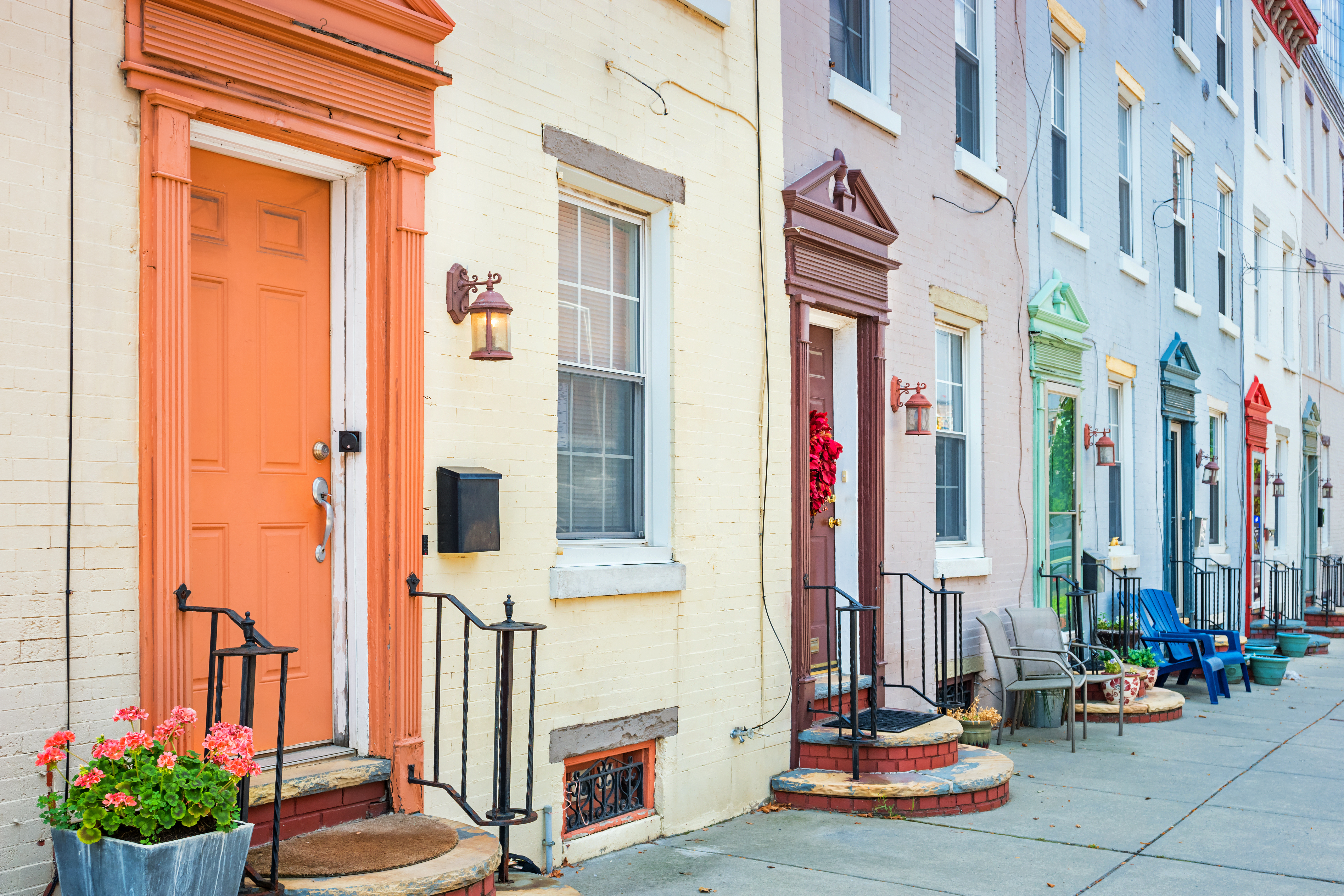 Townhouses in downtown Philadelphia Pennsylvania USA