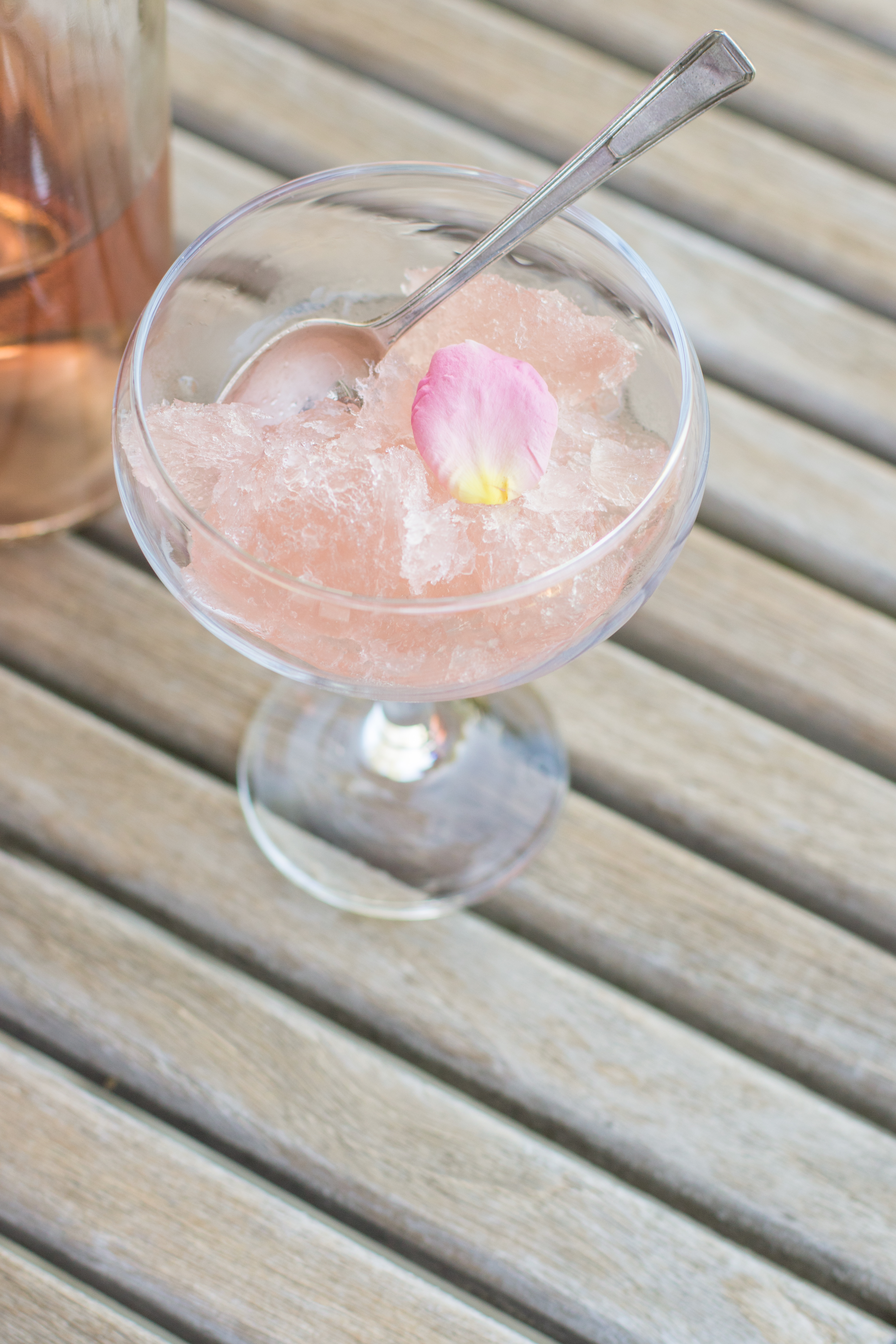 A bottle of rose and frozen wine slushie