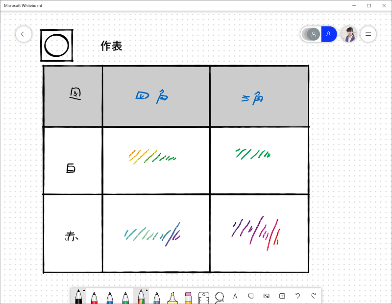 Microsoft Whiteboardの画面